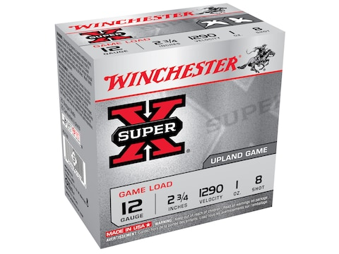 "Winchester Super-X Game Load Ammunition 12 Gauge 2-3/4"" 1 oz #8 Shot Box of 25"