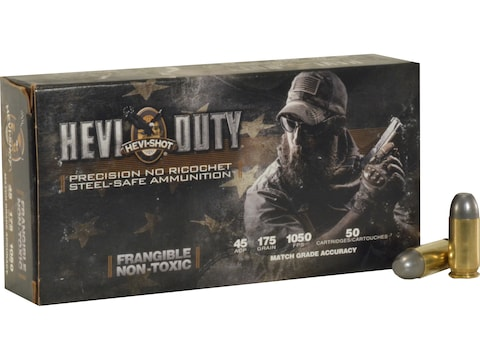 Hevi-Shot HEVI-Duty Defense Ammunition 45 ACP 175 Grain Frangible Non-Toxic Lead-Free B...