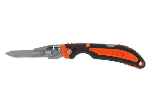 Gerber Vital Folding Skinning Knife Overmolded Rubber Handle Orange and Black