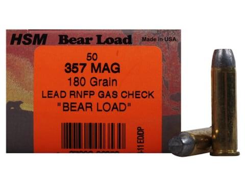 HSM Bear Ammunition 357 Magnum 180 Grain Lead Round Nose Flat Point Gas Check Box of 50
