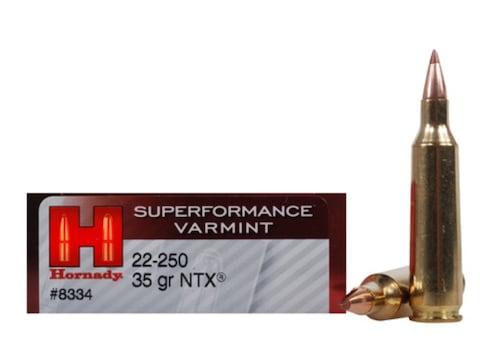 Hornady Superformance Varmint Ammunition 22-250 Remington 35 Grain NTX Lead-Free Box of 20