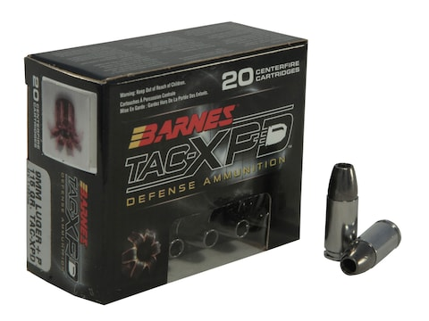 Barnes TAC-XPD Ammunition 9mm Luger +P 115 Grain TAC-XP Hollow Point Lead-Free Box of 20