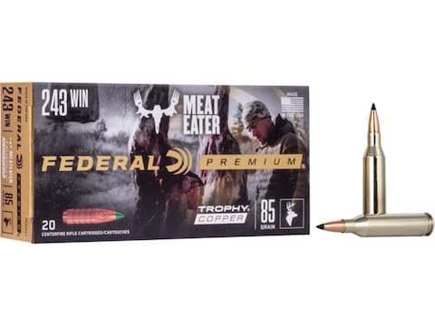 Federal Premium Ammunition 243 Winchester 85 Grain Trophy Copper Tipped Boat Tail Lead-...