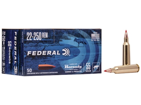 Federal Varmint & Predator Ammunition 22-250 Remington 55 Grain Hornady V-MAX