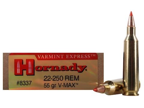 Hornady Varmint Express Ammunition 22-250 Remington 55 Grain V-MAX Box of 20
