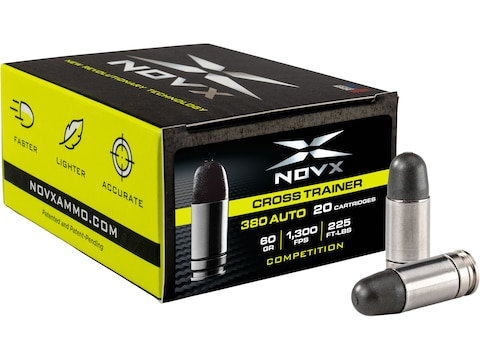 NovX Cross Trainer/Competition Ammunition 380 ACP 60 Grain Frangible Round Nose Lead Free