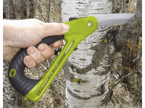 """HME Folding Saw with Hand Protector 7"""" Carbon Steel Blade Polymer Handle Green"""