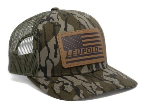 Leupold Men's Leather Flag Trucker Hat Cotton Mossy Oak Bottomland