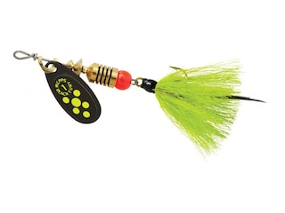 Mepps Aglia Black Fury Dressed Inline Spinner 1/8oz Gray & Chartreuse Tail Chartreuse Dot Blade