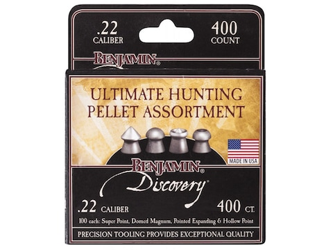 Benjamin Hunting Assortment Air Gun Pellets 22 Caliber 14.3 Grain 100 each of Domed, Ho...