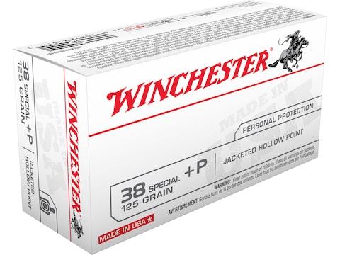 Winchester USA Ammunition 38 Special +P 125 Grain Jacketed Hollow Point Box of 50