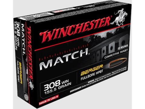 Winchester Match Ammunition 308 Winchester 155.5 Grain Berger FullBore Target Hollow Po...