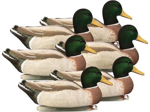 Higdon Magnum Foam Filled Flocked Head All Drakes Mallard Duck Decoy Polymer Pack of 6