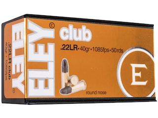 Eley Club Ammunition 22 Long Rifle 40 Grain Lead Round Nose Box of 50