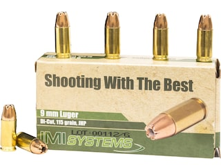 IMI Ammunition 9mm Luger 115 Grain Di-Cut Jacketed Hollow Point (JHP) Box of 50
