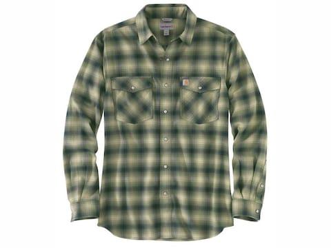 Carhartt Men's Rugged Flex Hamilton Snap Front Plaid Long Sleeve Shirt Cotton/Spandex