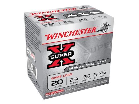 """Winchester Super-X Game Load Ammunition 20 Gauge 2-3/4"""" 7/8 oz #7-1/2 Shot Box of 25"""