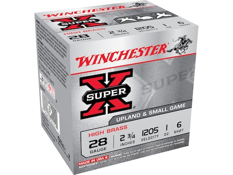 """Winchester Super-X High Brass Ammunition 28 Gauge 2-3/4"""" 1 oz #6 Shot"""