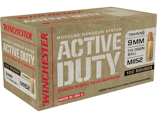 Winchester Active Duty MHS Ammunition 9mm M1152 115 Grain Full Metal Jacket Flat Nose Case of 500 (5 Boxes of 100)