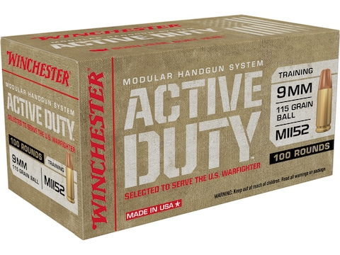 Winchester Active Duty MHS Ammunition 9mm M1152 115 Grain Full Metal Jacket Flat Nose