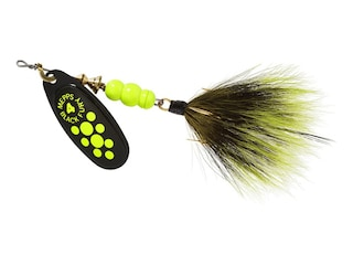 Mepps Aglia Black Fury Dressed Inline Spinner 1/3oz Gray & Chartreuse Tail Chartreuse Dot Blade
