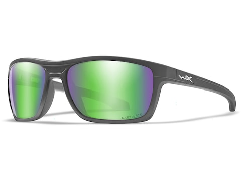 Wiley X WX Kingpin Polarized Sunglasses Matte Graphite Frame/Captivate Green Mirror Lens