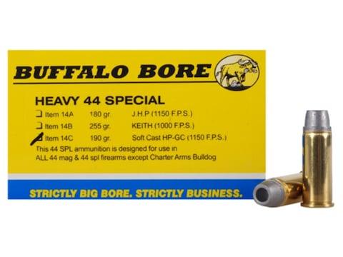 Buffalo Bore Ammunition 44 Special 190 Grain Lead Soft Cast Hollow Point Gas Check Box ...