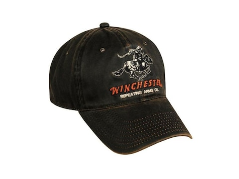 Winchester Weathered Cotton Mid Crown Logo Cap One Size Fits Most Cotton Dark Brown