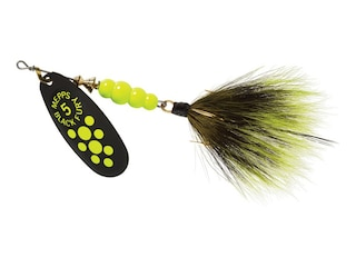 Mepps Aglia Black Fury Dressed Inline Spinner 1/2oz Gray & Chartreuse Tail Chartreuse Dot Blade
