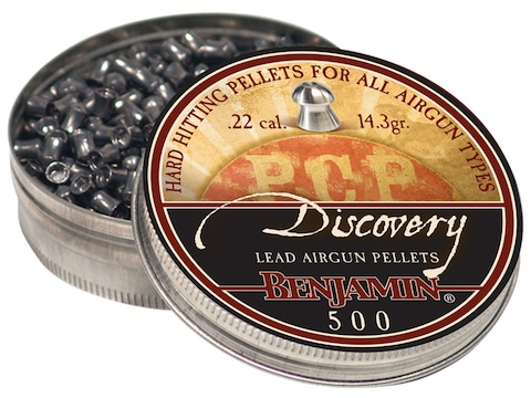 Benjamin Air Gun Pellets 22 Caliber 14.3 Grain Discovery Hollow Point Tin of 500
