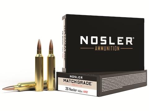 Nosler Match Grade Ammunition 26 Nosler 140 Grain Custom Competition Hollow Point Boat ...