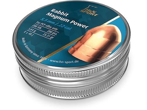 H&N Rabbit Magnum Power Pellets 22 Caliber 25.31 Grain 5.5mm Head-Size Domed Tin of 200