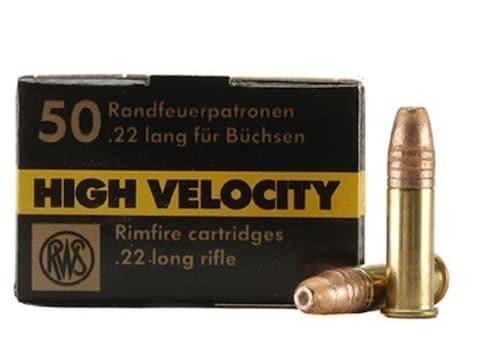 RWS High Velocity Ammunition 22 Long Rifle 40 Grain Plated Lead Hollow Point