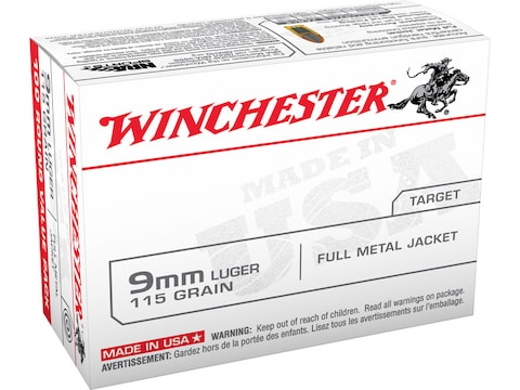 Winchester USA Ammunition 9mm Luger 115 Grain Full Metal Jacket