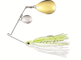 Terminator Pro Series Double Colorado Spinnerbait 3/8oz Chartreuse and White Shad Nickel/Gold