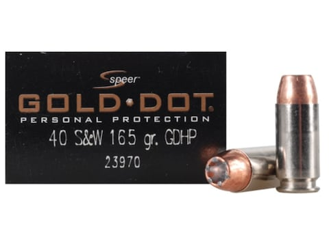 Speer Gold Dot Ammunition 40 S&W 165 Grain Jacketed Hollow Point