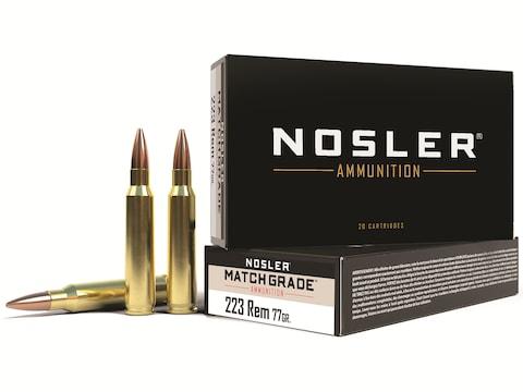 Nosler Match Grade Ammunition 223 Remington 77 Grain Custom Competition Match Box of 20