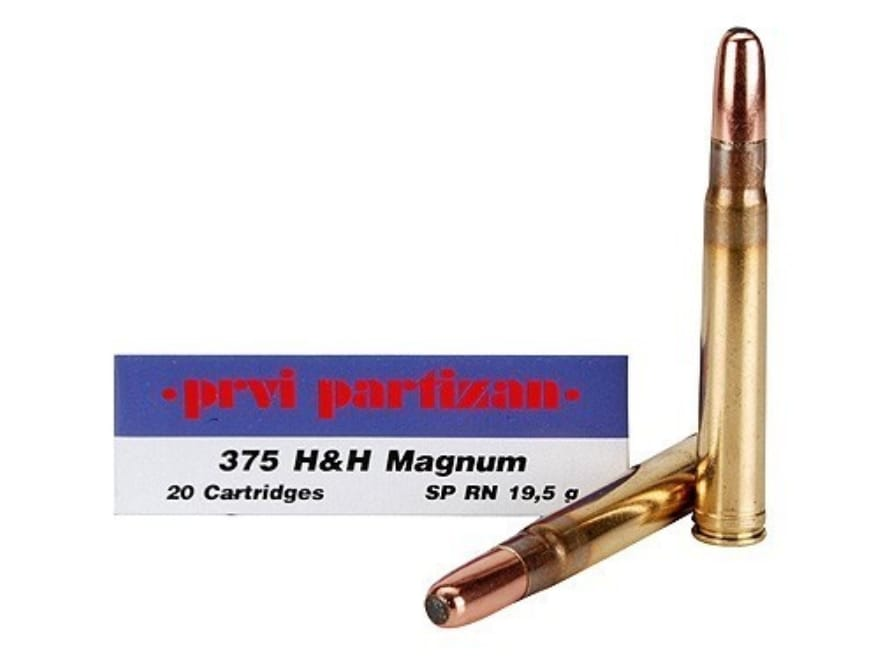 Prvi Partizan Ammo 375 H&H Mag 300 Grain Round Nose Soft Point Box of