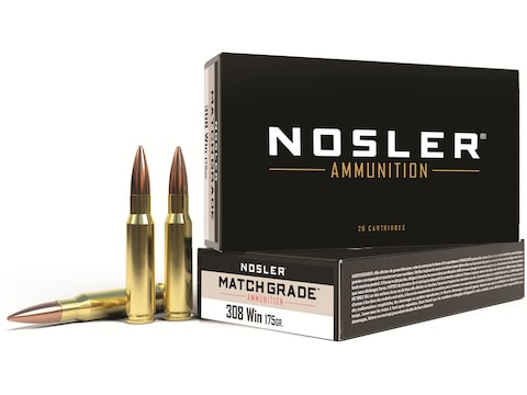 Nosler Match Grade Ammunition 308 Winchester 175 Grain Custom Competition Box of 20