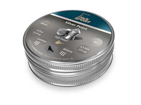 H&N Silver Point Pellets 177 Caliber 11.57 Grain 4.5mm Head-Size Pointed Tin of 500