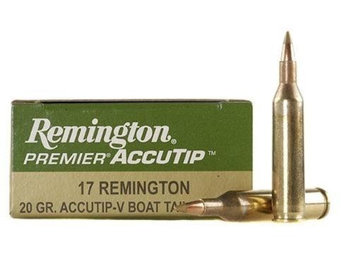 Remington Premier Varmint Ammunition 17 Remington 20 Grain AccuTip Boat Tail Box of 20