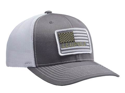 Leupold Flag Patch Logo Trucker Hat Charcoal/White