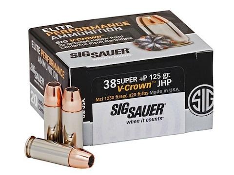 Sig Sauer Elite Performance Ammunition 38 Super +P 125 Grain V-Crown Jacketed Hollow Po...