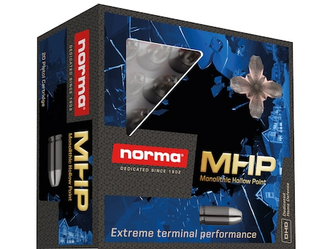 Norma Home Defense MHP Ammunition 380 ACP 85 Grain Solid Hollow Point Lead Free Box of 20