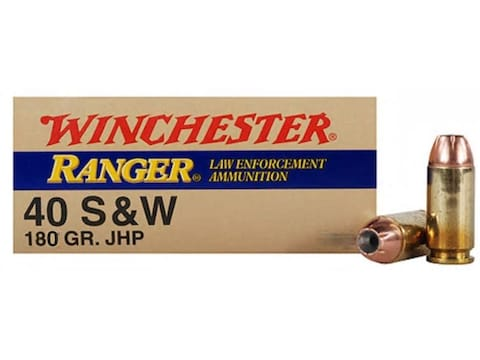 Winchester Ranger Ammunition 40 S&W 180 Grain Jacketed Hollow Point Box of 50