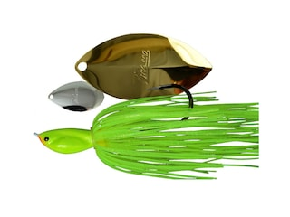 Picasso Super Strong Inviz Wire Tandem Thunder Spinnerbait 1/4oz Chartreuse Nickel/Gold