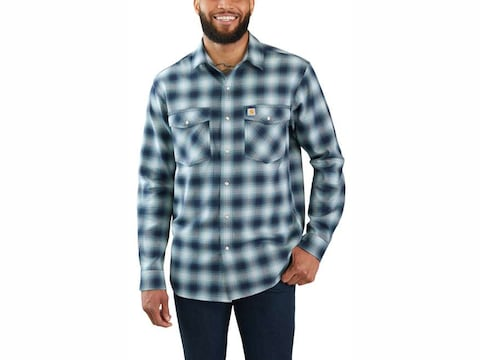 Carhartt Men's Rugged Flex Hamilton Snap Front Plaid Long Sleeve Shirt Cotton/Spandex