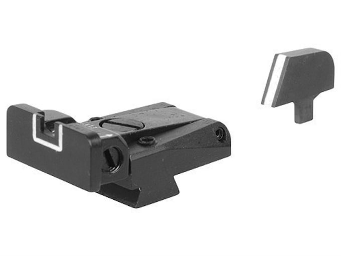 LPA SPR Sight Set 1911 Government with Narrow Tenon Front Sight Steel White Outline