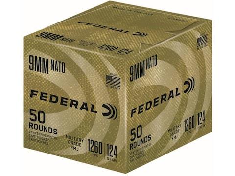 Federal Military Grade NATO Ammunition 9mm Luger 124 Grain Full Metal Jacket