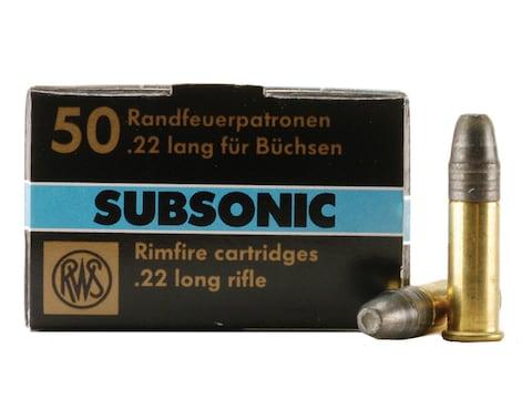 RWS Subsonic Ammunition 22 Long Rifle 40 Grain Lead Hollow Point